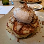 Old Fashioned Griddled Buttermilk Pancakes, Crispy Pecan Brittle, Fresh Bartlett Pear, Valencia