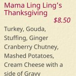 Ingredients for Mama Ling Ling's Thanksgiving sandwich