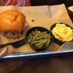 Pulled pork sandwich, green beans, mac n cheese