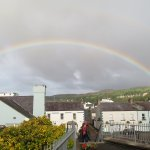 beautiful rainbow over the town