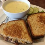 Crab Soup and BBQ Cheese Sandwich