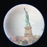 Statue of Liberty from telescope in room at the Ritz