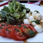 Italian salad with tomatoes and mozarella.