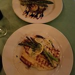 Filet and Sea Scallops and Rainbow Trout both with Asparagus and on Wild Mushroom Rice
