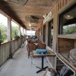 Outdoor seating along walkway.