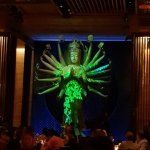 This is an ever changing laser light show projected onto the Buddah.