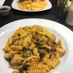 Chicken & Mushroom Pasta and Beef Burger