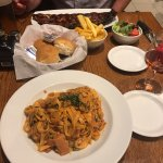 Spinach & Ham Pasta and Ribs