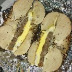Everything bagel (turkey sausage, egg & cheese