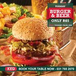 Every Tuesday is burger and beer night, even a vegetarian option
