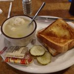 Chicken dumpling soup and grilled cheese