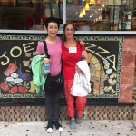 Michiko and Me outside of Joe's Pizza-our first tomato pizza place. Delicious/Oshi