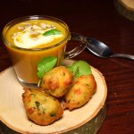 One of our Autumn 6 Course Tasting dishes - Butternut Squash Veloute with Goat's cheese fritters