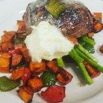 Steak w/ truffle gorgonzola, roasted sweet potatoes and asparagus