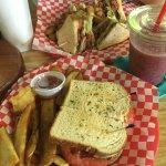 BLT, Club, fresh cut fries, and smoothie.