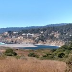 View of Gualala river and ocean on the trail at Gualala Point Regional Park