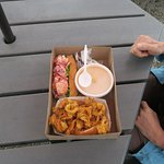 Clam strips, Lobster Roll and Lobster Bisque. All were good but the Clam Strips were the best!