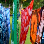 Batiks drying Romney Manor