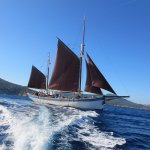 Andrea Just Off Porto Conte Bay, flying JIB, Stay, Main and Mizzen Sails.