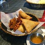 Trio appetizer - best samosas and pakoras around!