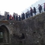 The Blarney Stone is on the top of the tower, about 94 steps, and the passages are crowded.