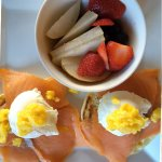 Smoked Salmon Eggs Benedicts with Fresh Fruit