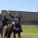 Demonstrating combat on horseback