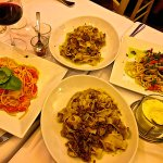 4 pastas including pappardelle alla Cinghiale, and spaghetti pomodoro e basilica