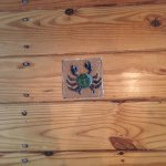 This is my favorite detail. Little crab tiles inlayed into the hardwood flooring. AMAZING!