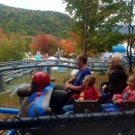 the view from the polar coaster with the leaves changing color in the background
