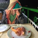 prosciutto and melon appetizer on the dining room balcony