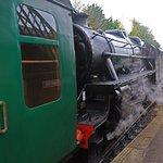 Watercress Line steam loco about to run round train