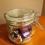 Jar of sweets in my room - Olway Inn in Usk (13/Oct/17).