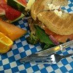 Smoked salmon, whole wheat bagel, fruit salad