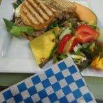 Tuna melt with salad and fruits