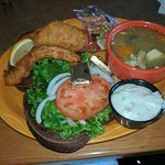 Lake perch sandwich and chicken dumpling soup