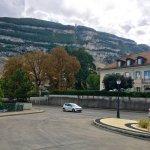 The bus stops( Veyrier -Douane) near the France /Swiss border