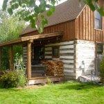 Back of log cabin