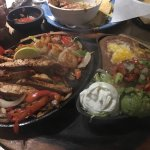 Menu, bean dip, steak and shrimp fajitas
