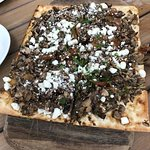 Mushroom and goat cheese flatbread