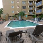 Pool area is small but attractive. Pool towels are provided. Shaded tables and chairs are provid