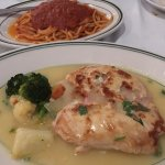 Chicken Ripieno (chicken breast stuffed with ham and cheese, white wine) with veggies and spaghe