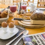 Breakfast at Chalet Bluebell includes a selection of fresh french breads, pastries and smoothies