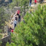 Visitors descending the Island Trail