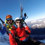 moments after take-off from the Aguile du midi ... Chamonix 10,000ft below your feet !