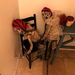 Halloween decorations in the Men's Bathroom