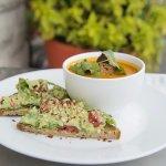Avocado Toast and Tomato Protein Soup