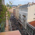 The view from the apartment suite terrace, looking east toward Place Messena.