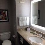 Bathroom of our hotel room, nice, clean, good shower flow