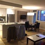 Kitchen, dinette, and livingroom area